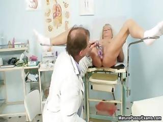 horny nurse inserting a blond grandma part5
