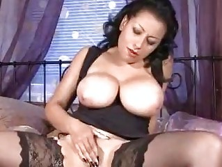 large chest on older  into nylons stroking cave