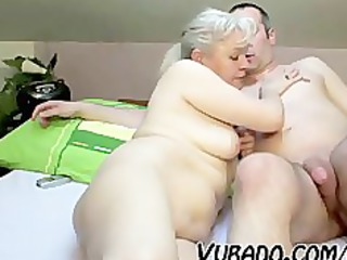 older  couple copulate difficult on bed