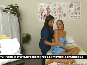 sweet brunette medic washes a patient