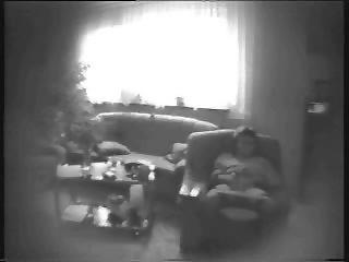 mummy pushing dildo into living room. hidden cam