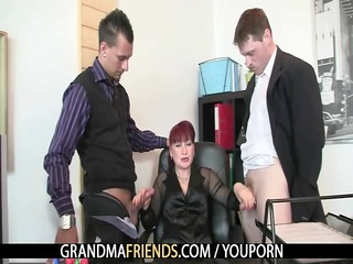 grownup office slut likes two cocks
