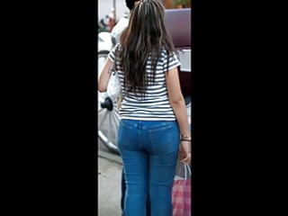 woman grownup in tight jeans large bottom butt