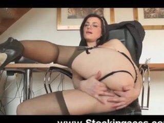 mature babe into bureau sex toy pierce