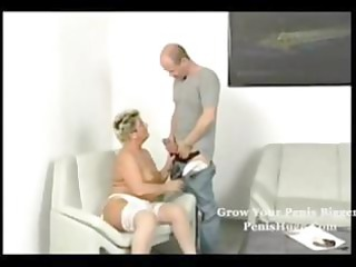 fat blonde old taking it on with her granny man