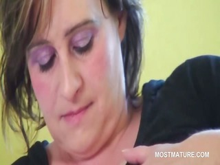 bbw mature horny babe licking her giant chest