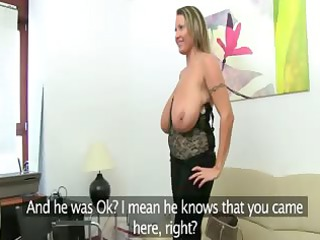 cougar woman fucking on leather bed