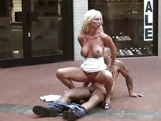 outdoor porn lady drilled at a shoe store