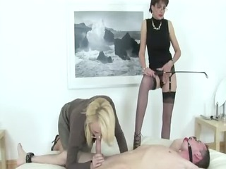 femdom bitch gives bdsm bondage fellatio