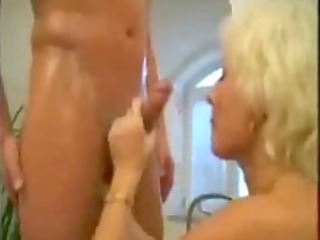 bleached older  mom drilled into the bathroom