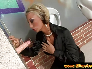 bleached lady associate at the gloryhole