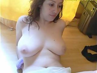 hot brunette lady adores white cream