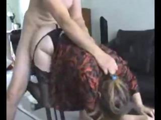 curvy lady inside nylons pierced on homemade