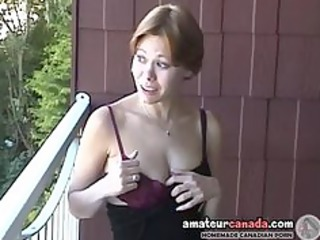 horny milf canadian cassie flashing bitch outdoors