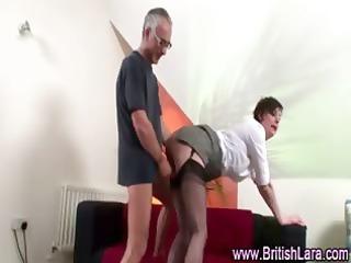 cougar guy fucks grownup chick into suspenders