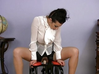 desperate lady dressing on satin copulates device