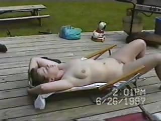 nudist lawnchair woman