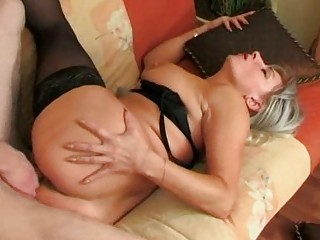 he wakes up nylons old and gangbangs her