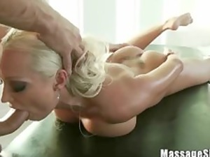 wonderful blonde diana sucking her masseurs penis