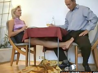 mature blond whore rubbing little penis with her