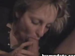 pretty brunette lady licks huge cock