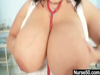huge tits mature babe medic exposes off her big