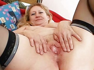horny granny grandma cave spreading and