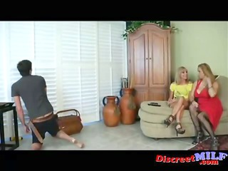 two ladies give cable teenager handjob