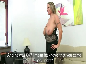 mature babe fucking on leather bed