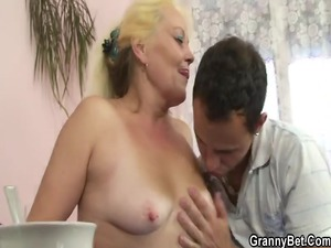 golden-haired granny gets her hairy like tunnel