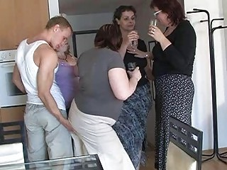 two by two desperate milfs seduced sweet lad to