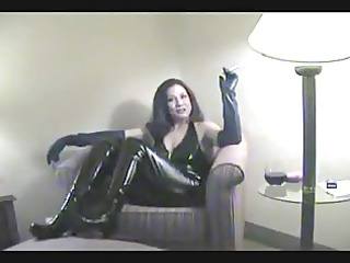 smoking obsess cougar smoking in latex