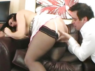 classy european brunette woman drilled on the