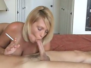 awesome albino milf smoke and gives hot blowjob