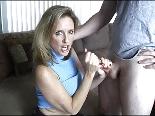milf gives handjob toyoung guy