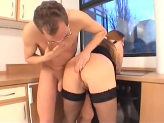 perverted busty milf drilled inside the dining