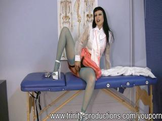 naughty lady medic femdom strapon handjob