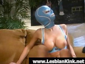 awesome homosexual woman inside rubber mask