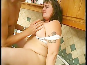 plump thick gets gang-banged in the dining room