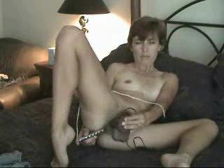 fresh grownup shaggy lady lady solo pushing dildo