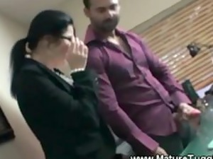 two mature workplace bitches worship to tug