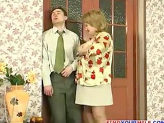russian lady and thin man fucking
