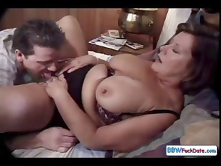 cougar momma with huge breast makes out with a