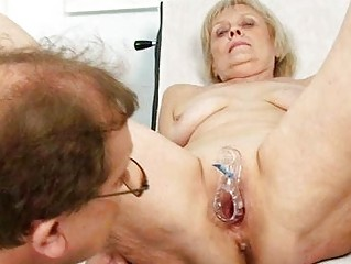 cougar granny brigita taking vagina exam from