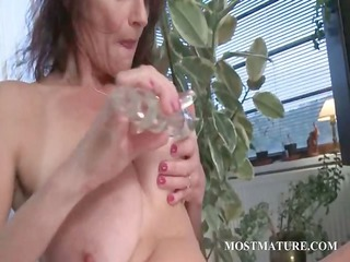 horny grownup sucking and drilling plastic cock