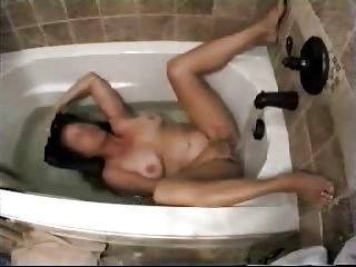 my mum inside shower tube pushing dildo with