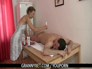 old masseuse obtains it difficult from behind