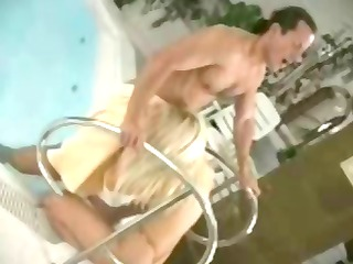 stunning blonde woman gives a fellatio and