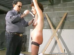 hot brunette slut gets bound
