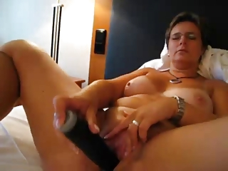 german older  enjoy large vibrator